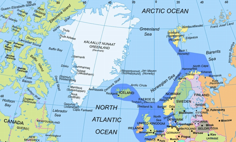 Map Of North Atlantic Ocean Islands